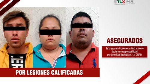 Asegura PGJE a 3 personas que golpearon a oficiales de la policía de investigación