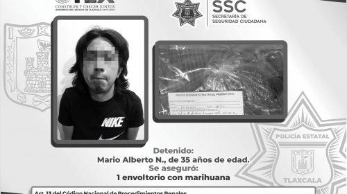 Policía Estatal detiene en Totolac a una persona por posesión de enervantes